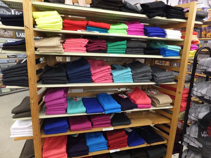 Shop shelf full of leggings
