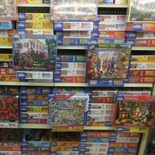 Shelf full of puzzles