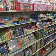 Shelf full of toys